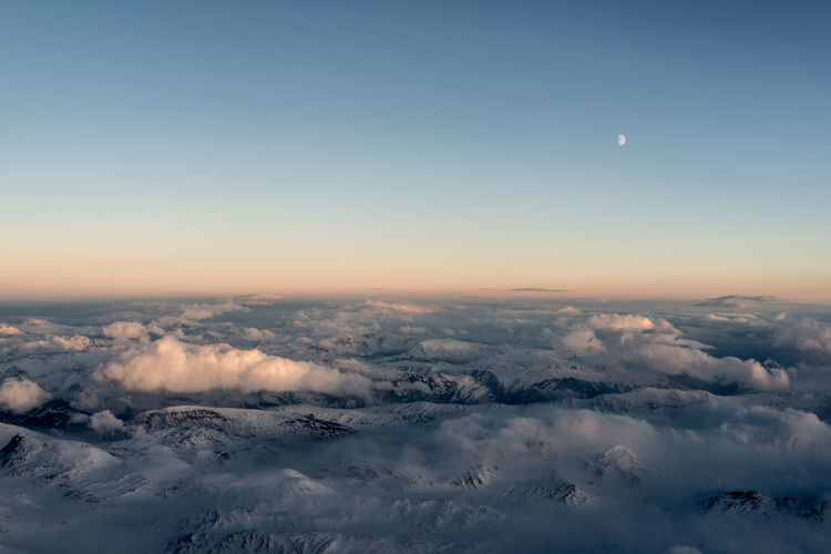 Aerial view of mountains in western Norway. Aerial View Beauty In Nature Cloud - Sky Landscape Moon Mountain Nature Norway Sky Sunset Tranquility