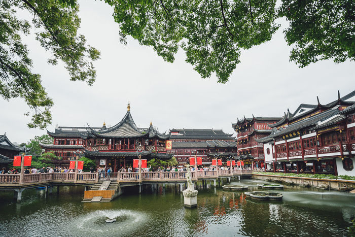 Yu yuan garden Architecture Building Exterior Built Structure Chinese City Cultures Day Eaves History Nautical Vessel Outdoors Place Of Worship Red River Riverbank Sky Tourism Tradition Traditional Travel Travel Destinations Tree Water Yu Yuan Garden Yuyuan