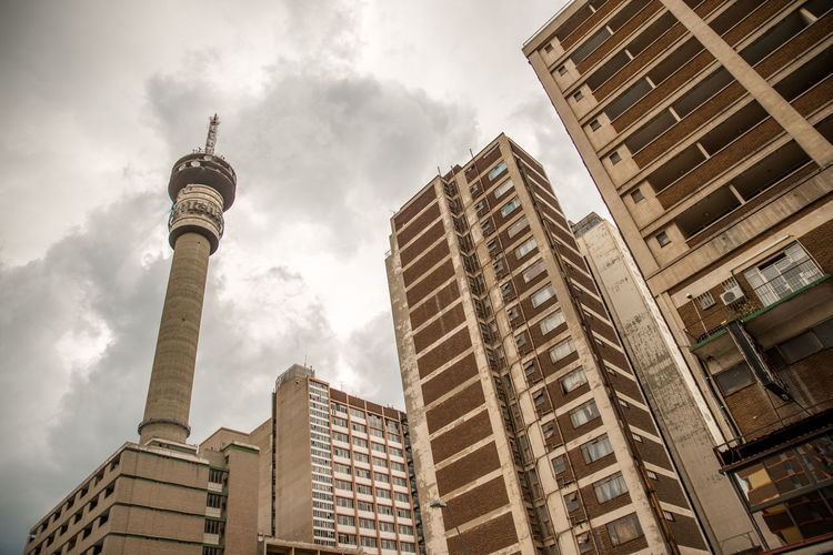 Low Angle View Of Hillbrow Tower In City Against Sky