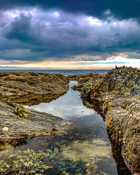 Rock pools and sea Rockpool Rockpooling Water Sea Beach Reflection Sky Cloud - Sky Calm Low Tide Idyllic Seascape Horizon Over Water Ocean Tide Coast Tranquil Scene Shore