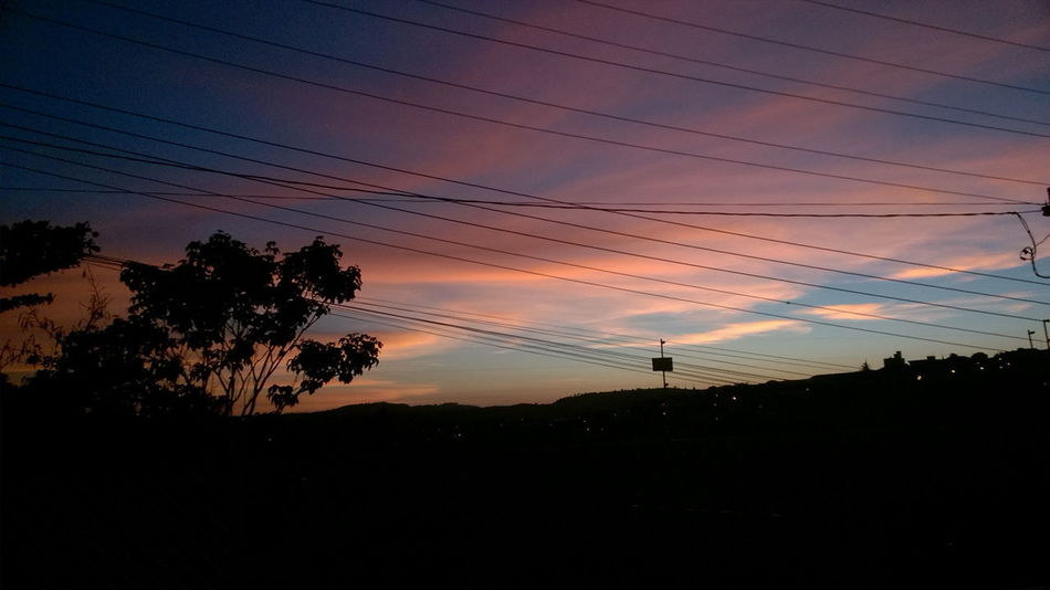 Silhouette Sunset Cable Electricity  Power Line  Tree Landscape Cloud - Sky Ethereal Sky Beauty In Nature Brazil EyeEmNewHere Nature EyeEm Selects No People Outdoors Sunlight Day Vanilla Sky Sunrise Sunrise_Collection Clouds And Sky Clouds