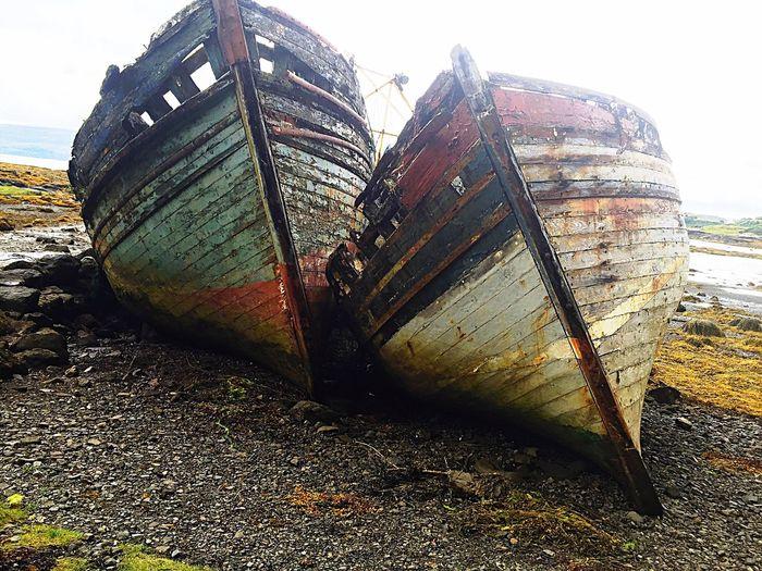 Isle of Mull boats Nautical Vessel Abandoned Transportation Damaged Outdoors Beach No People Sinking Day Water Moored Sea Nature Sunken Sky Isle of Mull Scotland
