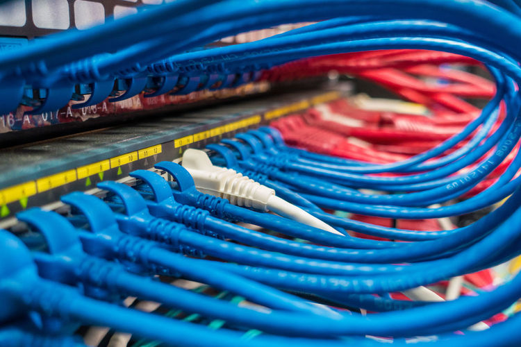Close-up of multi colored computer cables
