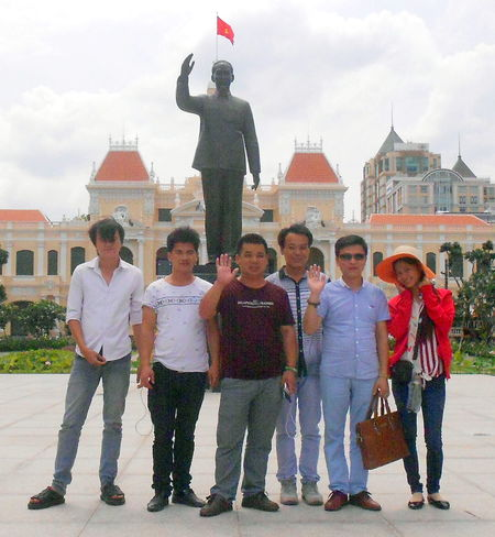 Architecture Boys Building Exterior Built Structure City Cloud - Sky Day Full Length Lifestyles Looking At Camera Medium Group Of People Men Outdoors People Portrait Real People Sky Standing Vietnam Travel Women Young Adult Young Women