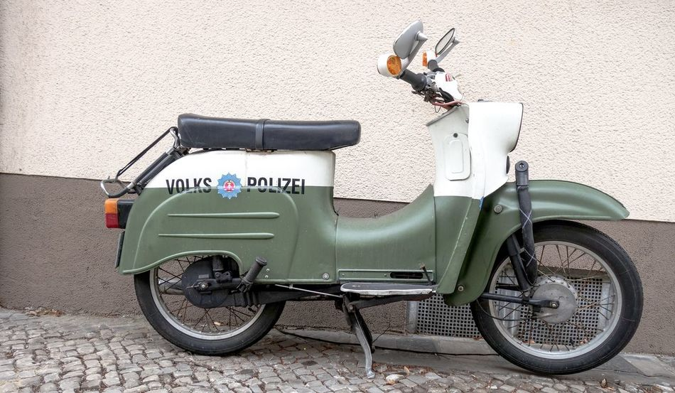 Eastern Germany Volkspolizei DDR Design DDR-Relikt Motorcycle Transportation Mode Of Transportation Wall - Building Feature Travel Day City No People Land Vehicle Outdoors Architecture Old Built Structure Wheel Street Building Exterior Metal