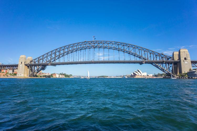 Low Angle View Of Sydney Harbor Bridge Against Blue Sky
