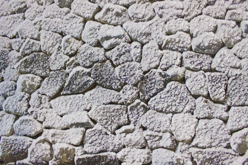 Backgrounds Textured  Full Frame No People Pattern Wall Wall - Building Feature Close-up Outdoors Stone Material Textured Effect Rough Stone Wall Snow Covered Snow ❄ Solid