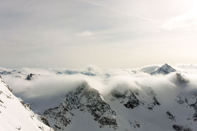 Titlis Xmas Beauty In Nature Cloud - Sky Cold Temperature Engelberg Environment Idyllic Mountain Mountain Peak Mountain Range Nature No People Non-urban Scene Remote Scenics - Nature Sky Snow Snowcapped Mountain Tranquil Scene Tranquility White Color Winter
