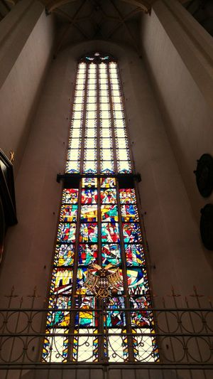 Window Religion Place Of Worship Built Structure Architecture Spirituality Indoors  Multi Colored Low Angle View Church Window Color Window Glas