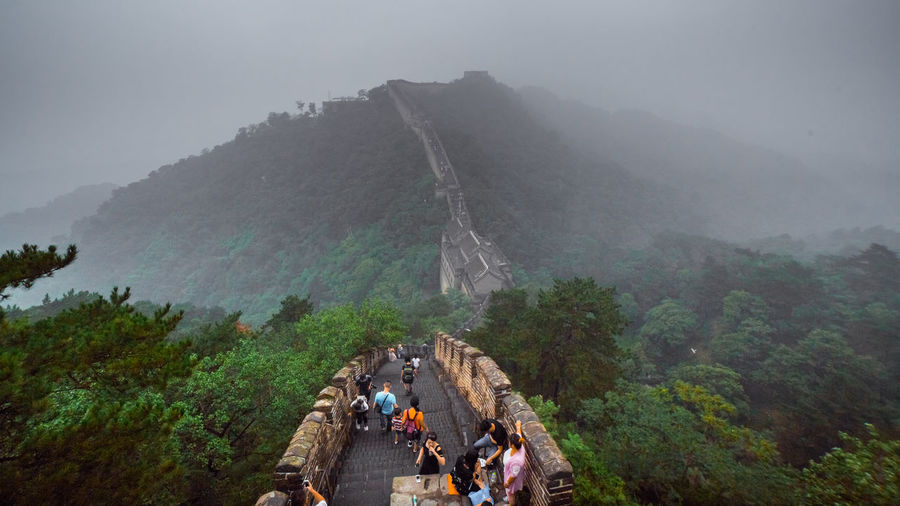 Beauty In Nature Beijing Cliff Day Foggy Frame Geology Great Wall Of China Landscape Mountain Nature Non-urban Scene Physical Geography Rock - Object Rock Formation Scenics Sky Tourism Tranquil Scene Tranquility Travel Destinations