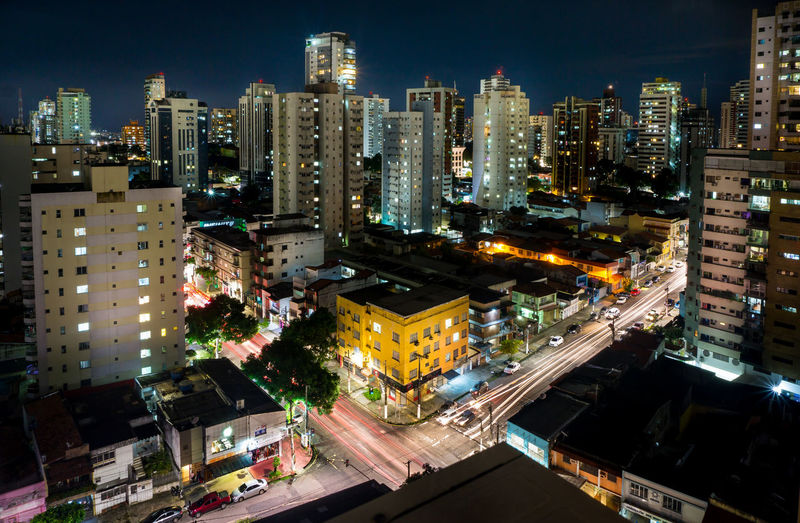 Skyscraper Cityscape Night City Illuminated Long Exposure Enjoying Life High Angle View