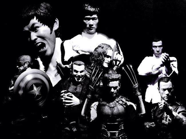 all under the master😄 Bruce Lee Brandon Lee The Crow JCVD Van Damme Donnie Yen Captainamerica Captain America Wolverine SABRETOOTH/X-MEN Hot Toys Toy Photography Toyphotography Toys