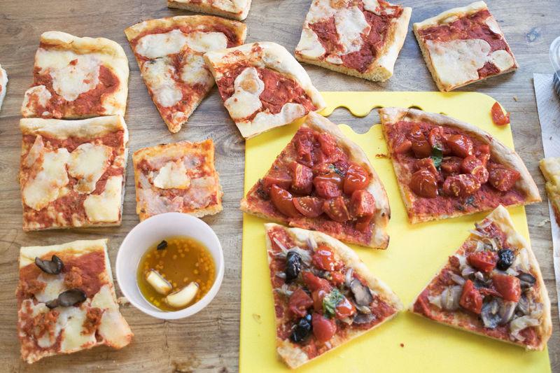 variety of homemade pizza Home Homemade Assortment Capricciosa Handmade Made Margherita Pieces Pizza Pizzeria Sliced Take Away Variety Wedge