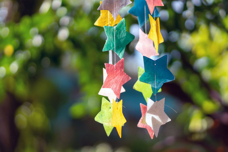 Close-up of multi colored paper hanging on tree