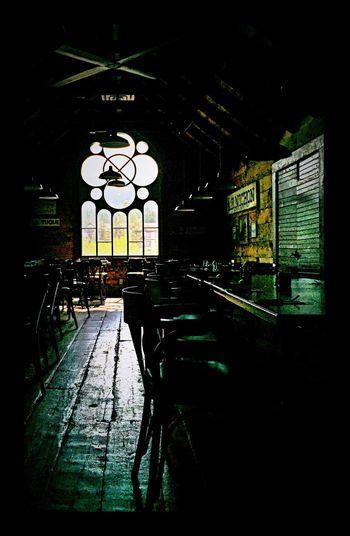 Restaurant Glass Art Woodfloor Antique Old Train Station