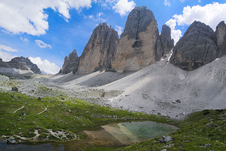 Low Angle View Of Tre Cime Di Lavaredo Against Sky