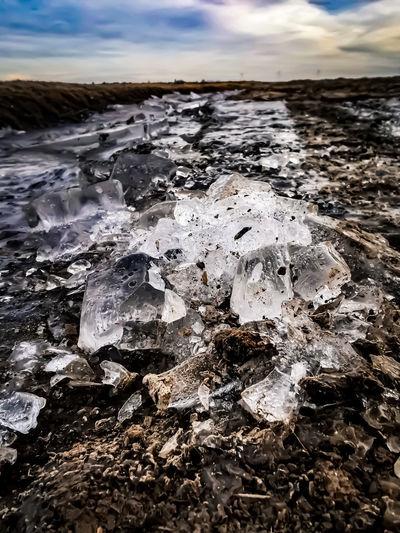 Frozen water on rocks