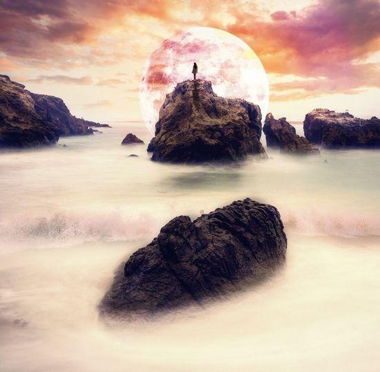 Moon Orange Sky Surrealism And Fantasy Art Surrealist Art Surreal Moon Beach Land Scenics - Nature Outdoors Nature Sunset