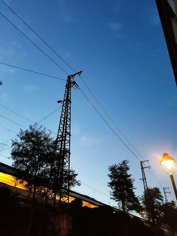 Night Photography Nightshot Train Train Lights Power Line  Tower High Section Power Supply Construction Street Light Sky Street Life City Street City Life Train Rails Trees Blue Sky Galaxy S7 Edge