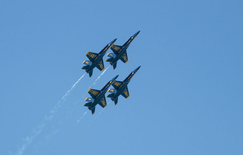 Navy Blue Angels Air Force Air Vehicle Airplane Airshow Blue Clear Sky Copy Space Day Fighter Plane Flying Low Angle View Mid-air Military Military Airplane Mode Of Transportation Motion Nature No People on the move Outdoors Plane Sky Transportation Vapor Trail
