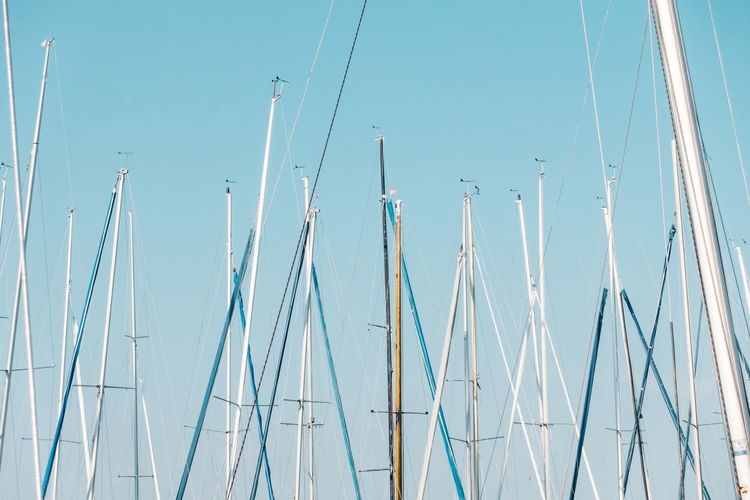directions... Wind Direction Sailing Boat Wind Sailing Boat Sky No People Day Nature Clear Sky Low Angle View Blue Sunny Outdoors Connection Sunlight Pole Tranquility Close-up
