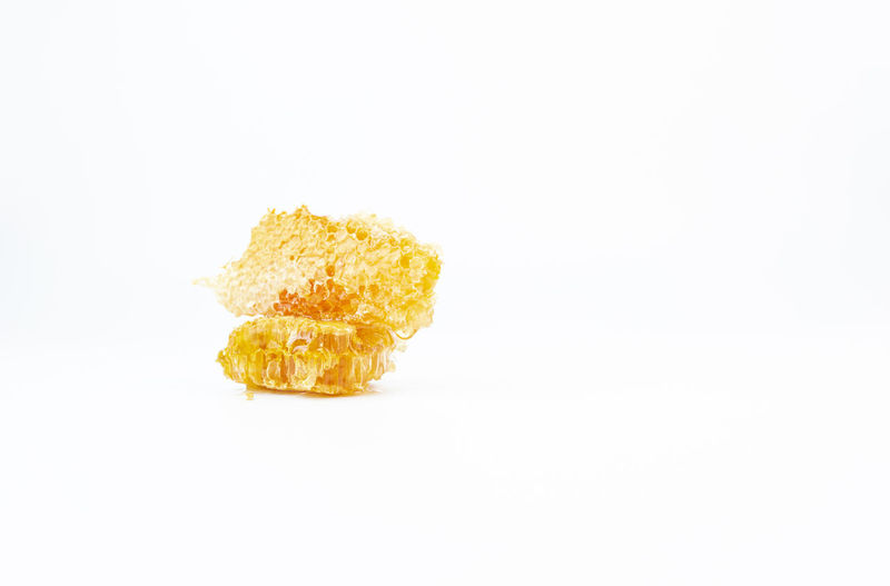 High angle view of yellow leaf on white background