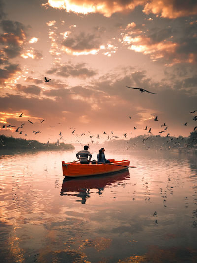 Golden hour ✨ Birds Beauty In Nature Moody Sky Early Morning Landscape Nature Sunlight Dramatic Sky Travel Travel Destinations Tourism Outdoors Golden Hour Natural Birds PhonePhotography Colors Artphotography Streetphotography India Flock Of Birds Romantic Sky
