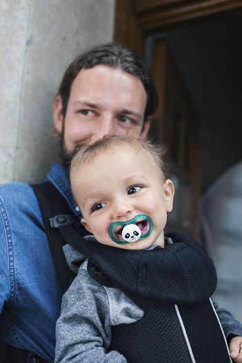 Portrait of father and baby boy