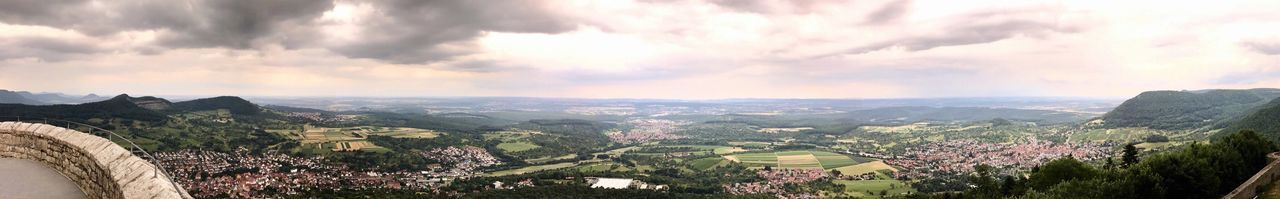 Great panorama from Castle Hohenneuffen in Southern Germany, covering Esslingen, Stuttgart and surrounding villages Nature Landscape Beauty In Nature Sky Tranquility Mountain Scenics Outdoors No People Day Architecture Mountain Range Hohenneuffen Castle Neuffen Panorama Panoramic Germany Stuttgart Esslingen Am Neckar Esslingen