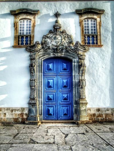 Door Closed Architecture Built Structure Building Exterior Entrance Outdoors Window No People Façade Day Congonhas Minas Gerais Brazil Old Church Building Church Doorway