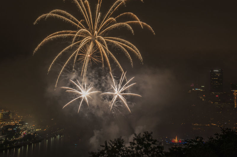 Firework display over city against sky at night