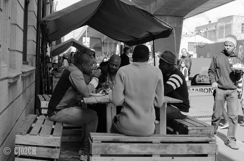 Architecture Building Built Structure Casual Clothing City City Life Day Dining Lifestyles Maboneng Precinct Outdoors People Eating Social Socializing