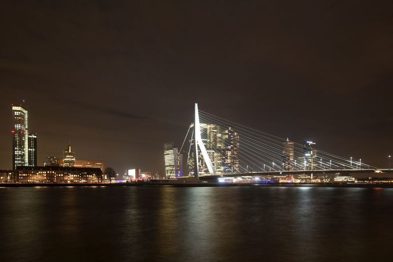Erasmus Brug Holland Architecture Night Built Structure Illuminated Water Building Exterior City Travel Destinations Bridge Bridge - Man Made Structure Skyscraper Cityscape Modern River HUAWEI Photo Award: After Dark