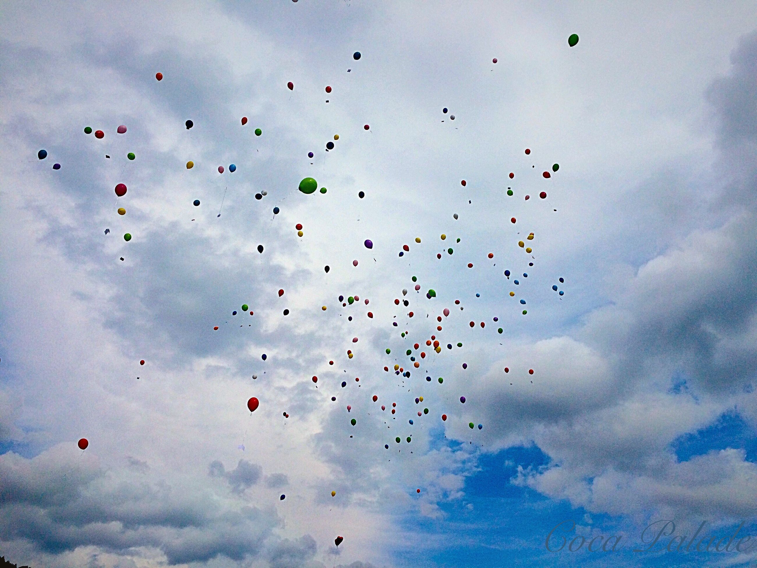 flying, low angle view, mid-air, sky, cloud - sky, blue, freedom, multi colored, flock of birds, motion, kite - toy, cloud, balloon, nature, day, bird, outdoors, no people, cloudy