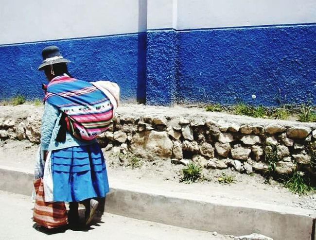 Miles Away Andes Peru Striped One Person Outdoors Shoppingbag Indios Colors Blue Wanderlust