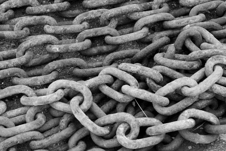 Chains Black & White Backgrounds Blackandwhite Chains Close-up Connection No People Outdoors Strength