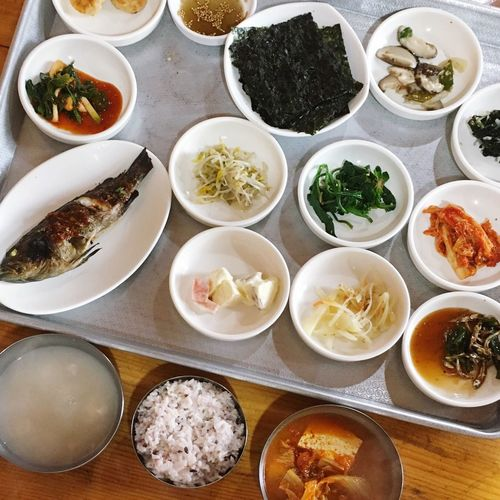 Food Table Food And Drink Ready-to-eat Plate Variation Serving Size Meal Freshness High Angle View Bowl Indulgence Healthy Eating Indoors  Choice Meat Directly Above No People Gourmet Dumpling  South Korea Korean Food Kimchi!!!!! Roasted Visual Feast