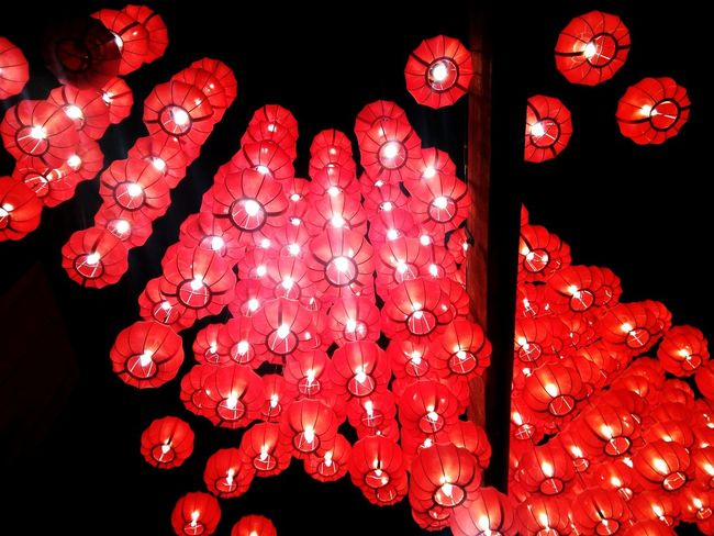 Celebration Lighting Equipment Red Chinese Lantern Festival Illuminated Chinese Lantern Traditional Festival Cultures Hanging Chinese New Year Night Tradition Low Angle View Abundance No People Lantern Large Group Of Objects Indoors
