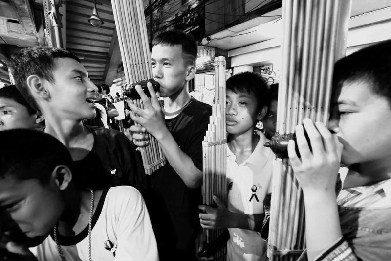 Mid Adult Real People Medium Group Of People Day Musical Instrument Outdoors People Adult Saxophone Songkran Festival Day Played By The People Of The Northeast Of Thailand Musician Boys Reed Organs Happy People