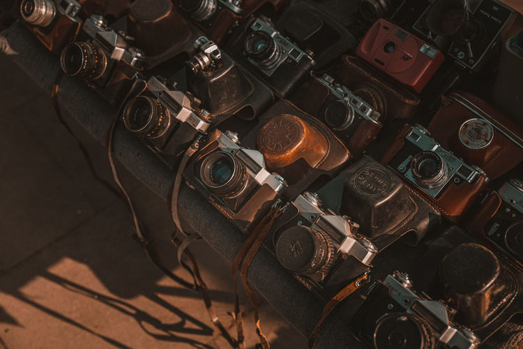 High angle view of vintage cameras