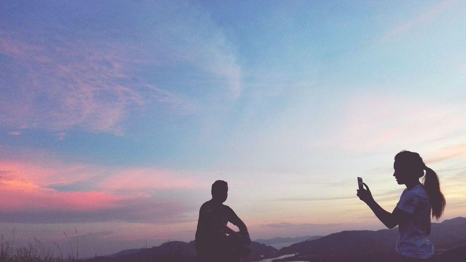 Let me take your picture Sunset Hiking Beautiful Nature Northborneo Gansau Pinkblue Cloud EyeEm Best Shots | Bukit Tirig, Telipok Sabah Malaysia