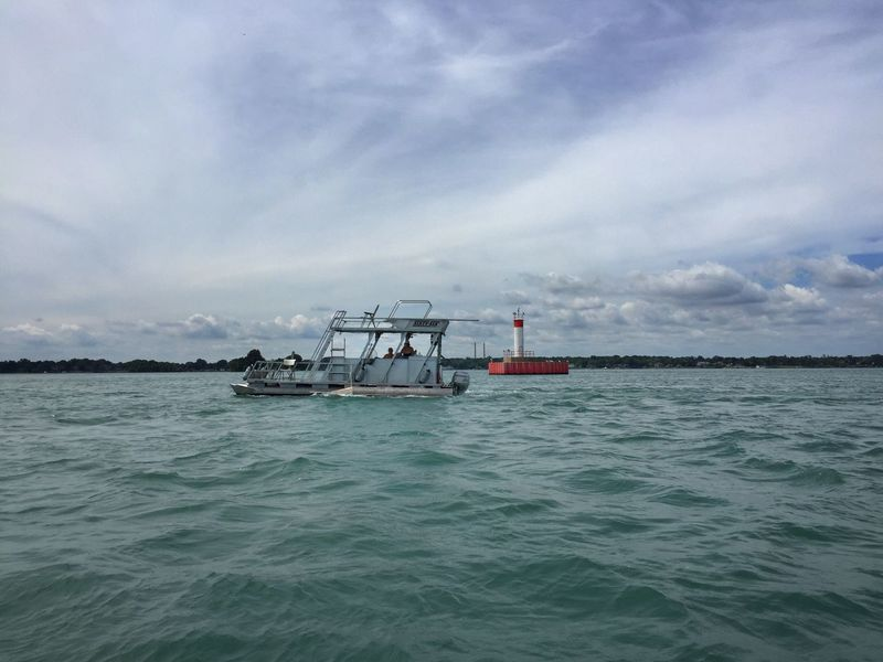 Party boat passing the channel marker Livingston Channel Detroit River Power Boats Michigan Summer Enjoying Summer Boating