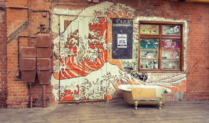 Badehaus Berlin Frichdrichshain Architecture Brick Wall Building Exterior Built Structure Day Graffiti Multi Colored No People Outdoors Weathered