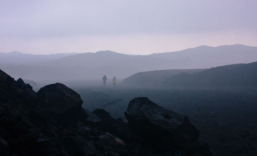 Beauty In Nature Day Fog Landscape Leisure Activity Men Mountain Mountain Range Nature One Person Outdoors People Real People Rock - Object Scenics Silhouette Sky Sunset Tranquil Scene Tranquility