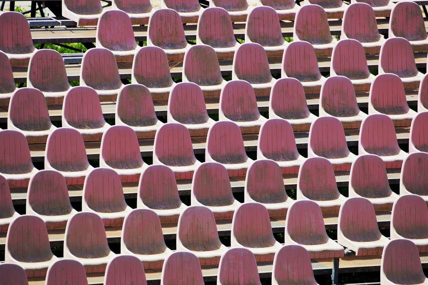 Arrangement Backgrounds Chair Day Full Frame High Angle View In A Row Large Group Of Objects No People Order Pattern Repetition Seat Side By Side