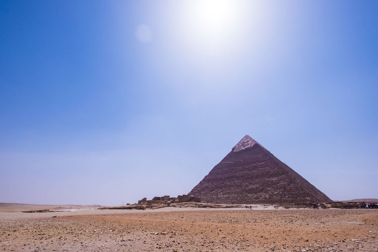 Egypt Ancient Ancient Civilization Built Structure Clear Sky Day Desert History Landscape Nature Pyramid Sand Sky Sunlight The Past Travel Destinations