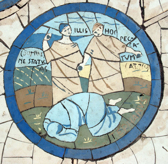 The sinning woman, Mosaic in front of the church on the Mount of Beatitudes Beatitudes Belief Biblical  Christianity Church Galilee Historical Holy Israel Jesus Middle East Mosaic Mount Religion Religious  Saint Sermon Shrine Sinning Spiritual Stone Woman
