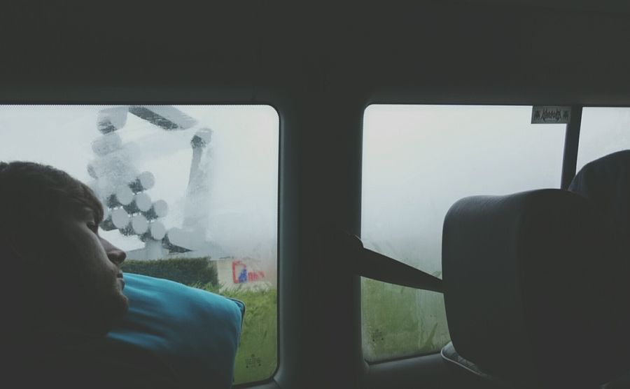 Woman traveling in train