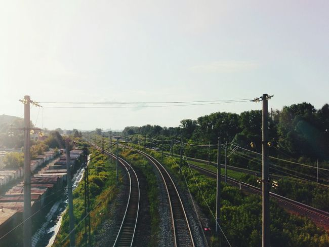 Green Railway Trees Taking Photos Check This Out Enjoying Life VSCO Afterlight Sky Landscape Summertime Light