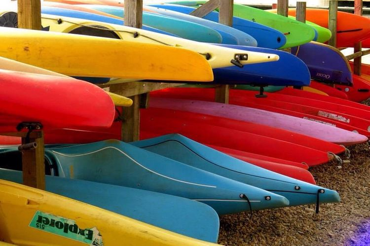 Canoes And Kayaks Kayak Storage Kayaks On A Lake Kayaks In Racks Kayaks, Boats, Summer, Outdoors Kayaks Boats Canoes Stacked Up Canoeing Canoe